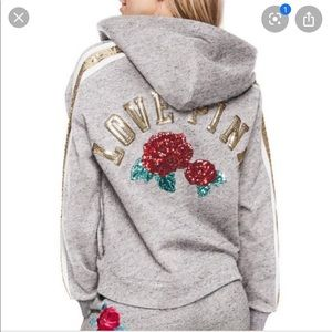 Victoria's Secret PINK Bling Roses Lace Up Hoodie